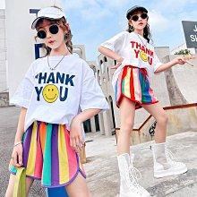小圖藤童裝~~~中大童~~~女童條紋短款套装2021新款夏季中大童套裝(A2649)