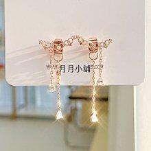 ☆月月小舖☆○現貨○韓國代購正韓國製造玫瑰金銀色氣質垂吊式小裝飾皇冠耳環一對