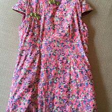 粉紅碎花鋪棉短袖旗袍洋裝