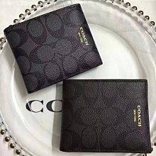 美國正品 COACH 74586 蔻馳男式真皮短夾 對折式錢包 附帶證件相片小夾 耐磨防刮C紋Logo