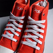 (((最後出清!!))) 全新 ~ 美國 RALPH LAUREN 亮橘色 繡馬 燈芯絨 高筒帆布鞋 (US5)