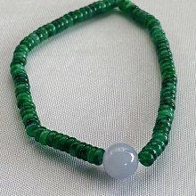 緬甸A貨天然辣綠算盤珠配冰紫羅蘭主珠手串
