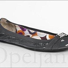 Coach Flat Shoes 灰色 亮面真皮 經典款舒適 平底鞋包鞋 娃娃鞋 芭蕾舞鞋子 9號 26號 免運費