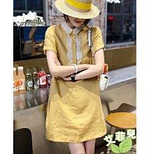 艾菲兒=娃娃領鵝黃色連身裙=現貨、韓版、預購