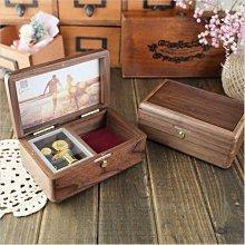 音樂青蛙, 胡桃木相框首飾音樂盒(可選曲)+封面刻字 含暫停器 置物格 可代裝相片 免費包裝 訂情周年紀念生日畢業母親節