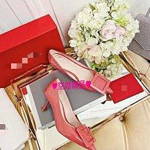 ♥空姐精品♥2021新品 R**v 同款 牛漆皮方釦尖頭高跟鞋 同色扣婚鞋 伴娘鞋