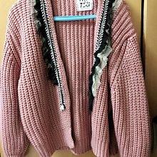 韓版蕾絲邊銀鍊毛線外套