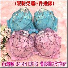 (限時免運,5件送2件高級內褲) 華麗蕾絲刺繡大碼.大杯.大胸部(34~44 E / F / G) 調整型胸罩