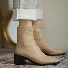 Fashion*定製大小碼短靴 舒適彈力中跟粗跟女靴 33碼44碼45碼/跟高5.5CM 32-46碼 黑色 杏 米白