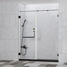 【HS磁磚衛浴生活館】一太拉門皇冠5800黑珍珠 黑框淋浴拉門 無框黑框 8mm強玻 五年保固 一字型/黑框五角型
