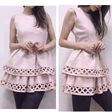 特價-韓國設計師品牌真品粉裸色毛料洋裝