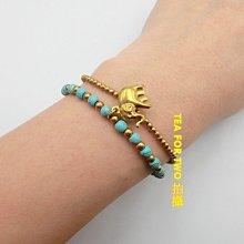 泰國現貨NO1,民俗風手鍊(雙層),藍金色大象