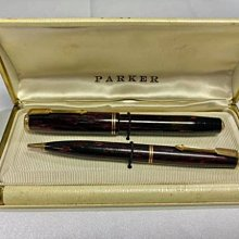 極罕見 Parker 派克 Vacumatic 真空 加拿大製 1938年 紅色幻影 三色 (鋼筆+鉛筆)套組 #V45
