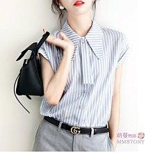 訂製說不出的知性溫柔 短袖雪紡絲條紋襯衫 M-2XL 萌蔓物語【KX3547】韓氣質女上衣