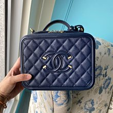 Chanel 深藍色 Vanity case 荔枝皮化妝包 21公分 現貨(已售出)