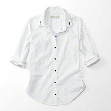 Maple麋鹿小舖 Abercrombie&Fitch * AF 女生白色領子電繡字母長袖襯衫* ( 現貨XS號 )