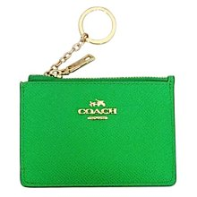 COACH 鑰匙包 零錢包 卡夾防刮皮革 綠色 全省專櫃可送修保養 全新100%正品 原價$2500特價$1999