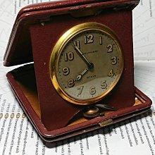 西風((( 古董 Waltham 華爾頓 8天旅行皮座鐘 )))
