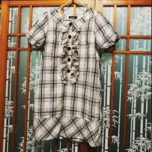 日貨 經典格紋洋裝 M 蓬蓬袖 胸前荷葉邊裝飾
