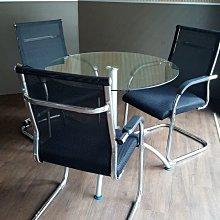 【漢興OA辦公家具】旭至   辦公室專用洽談椅  黑網背面+流線框灣腳