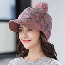 Oria秋冬造型必備單品 Q229-4 格線針織球球蓋帽-粉色款