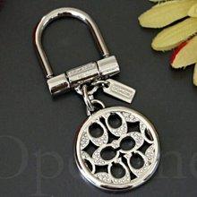 美國真品 情人節送禮 特價 Coach 精緻銀色金屬 C LOGOG 鑲鑽水晶鑰匙圈 鑰匙環 愛Coach包包