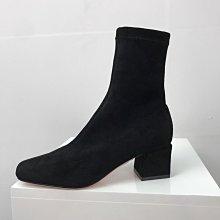 真皮彈力短靴 DANDT 時尚顯瘦彈力粗跟短靴(20 SEP) 同風格請在賣場搜尋SUN或外銷女鞋