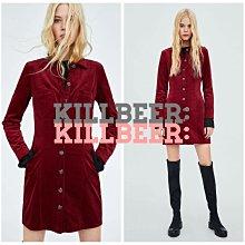 KillBeer:身為名媛的自傲之 歐美復古經典70s搖滾燈芯絨酒紅排扣顯瘦剪裁長袖洋裝連身裙zara topshop