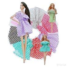 芭比 波浪 荷葉邊 一字領 連身 洋裝 小禮服 娃娃服裝 衣服