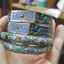 老銀燒藍(琺瑯彩)手鐲兩對美品分享一對18000