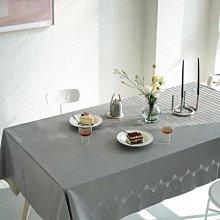 MOK 北歐風 簡約時尚 點點鏤空設計 PU皮 可擦洗 防水防油餐桌巾 桌布 灰色 138*180