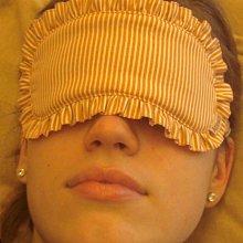 Altinway 眼罩 粉橘色 夏季風采 日本進口純棉布 荷葉邊點點條紋 限量版