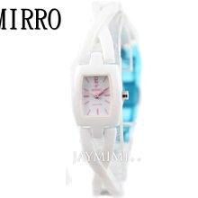 【JAYMIMI傑米】MIRRO 米羅 原廠公司貨 高精密陶瓷 淑女交叉陶瓷手腕錶 特價2890 白粉