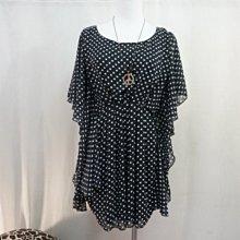 iiMK】黑白點水玉點點100% polyester 造型短雪紡衣