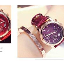GUOU香港古歐三眼多功能皮帶經典復古休閒石英手錶 腕錶