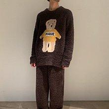 G411軟綿綿 泰迪熊 長袖上衣+長褲 套裝   情侶套裝 居家服套裝  親子套裝   gelato pique 男款