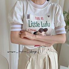 正韓:衣領手袖邊鏤空設計短版T恤(2色)