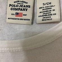 Polo jeans company 玫瑰花圖騰白色純棉短袖T恤