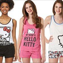 可愛清純三款粉紅 黑白 Hello Kitty 凱蒂貓 居家休閒服飾背心+短褲兩件一組整組整套 睡衣 S M XL L號