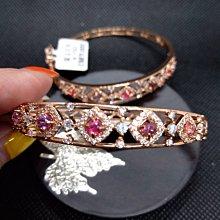 天然尖晶石 s925銀手環鍍金 鑲鋯石 水鑽 豪鑲版 手鐲內圍59*49mm 超美 2個選一