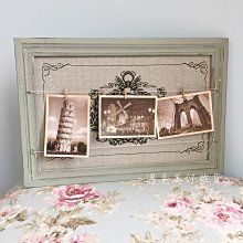 【遇見美好雜貨】A50605  鄉村雜貨 木制相框造型附木夾可夾留言或照片
