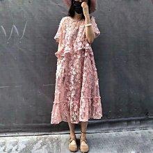 ☆╮PRiNcEsS-Mine╭☆韓版沐春連衣裙 氣質款粉色立體花朵透膚洋裝╭☆可當孕婦裝 伴娘 春酒 尾牙 婚禮 韓款 小香風 Zara  Chloe