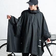日本KIU 203-235 夜光格紋 機車/自行車雨衣斗篷 附收納袋(男女適用)