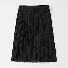 Maple麋鹿小舖 Abercrombie&Fitch * AF  黑色百褶雪紡中長裙 * ( 現貨XS/S號 )