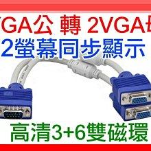 【傻瓜批發】(S501)VGA公 轉 2VGA母 雙螢幕同步顯示 高清3+6雙磁環 1分2 一分二 螢幕分享 板橋現貨