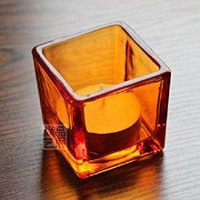熱銷#簡約現代透明5CM玻璃酒吧西餐燭臺圣誕浪漫燭光晚餐方小燭杯擺件#燭臺#裝飾