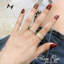 鍍18k玫瑰金雙排彩金滿鑽時尚閃鑽戒指女指環鈦鋼不褪色    全館免運
