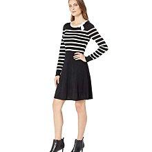 全新有吊牌 美國CeCe黑底白色條紋蝴蝶結針織長袖及膝洋裝XL號 59%棉