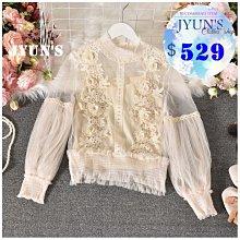 JYUN'S 春季新款甜美氣質網紗半高領立體蕾絲花朵燈籠袖蕾絲衫上衣長袖上衣 1色 現貨