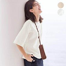 日本 夏 不易弄髒的白色 防潑水加工 抗皺 簡約五分袖上衣 (現貨款超特價)